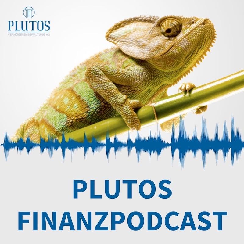 Plutos Finanzpodcast - Podcast Cover mit Chameleon und Tonspur und Titel in blau