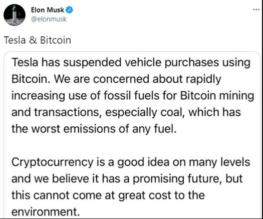Elon Musk Tesla & Bitcoin Tweet