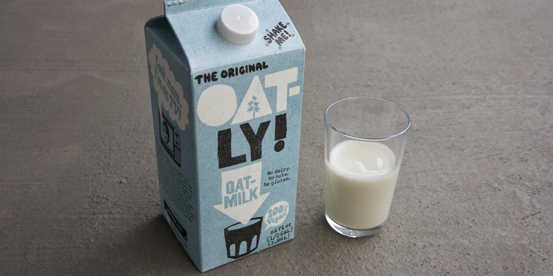 Oatly Boersengang und Kryptowaehrungen - Oatly Milch Glas