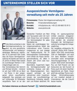 Plutos im Handelsblatt - Handelsblatt